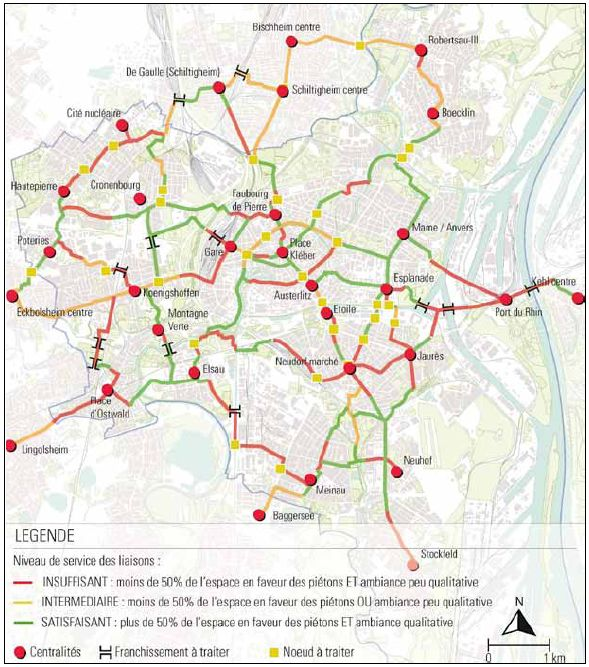 Warunki ruchu pieszego na głównych trasach Strasburga