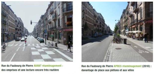 Rue de Fauburg w Strasburgu - przed i po przebudowie