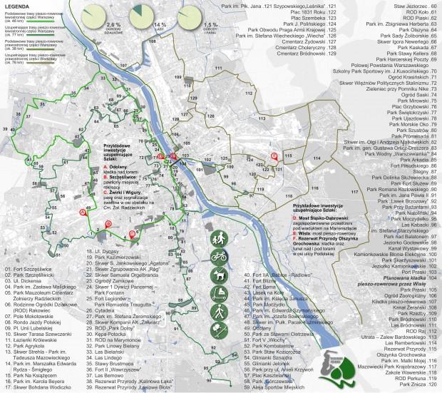 Mapa przebiegu szlaków ze wskazaniem łączonych terenów.